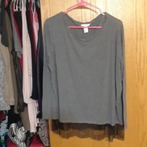 💟Gray lace long sleeve top